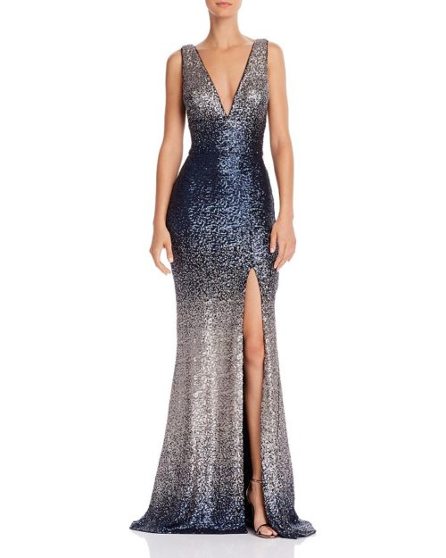 Aqua V-Neck Gown