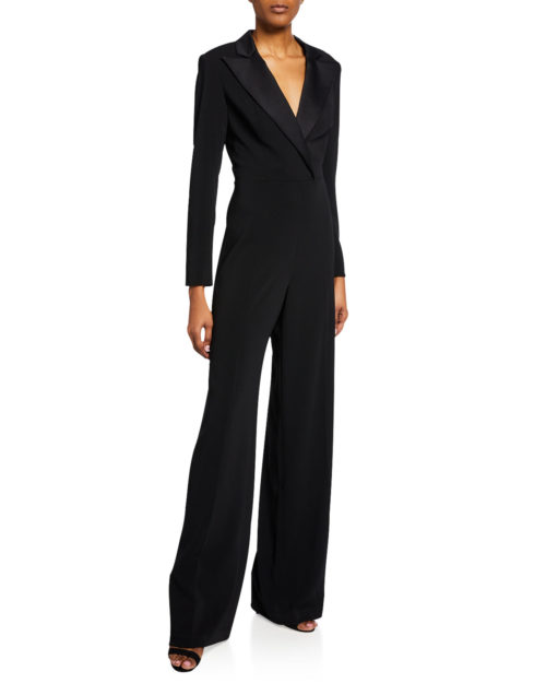 Jay Godfrey Roland V-Neck Long Sleeve Tuxedo Jumpsuit