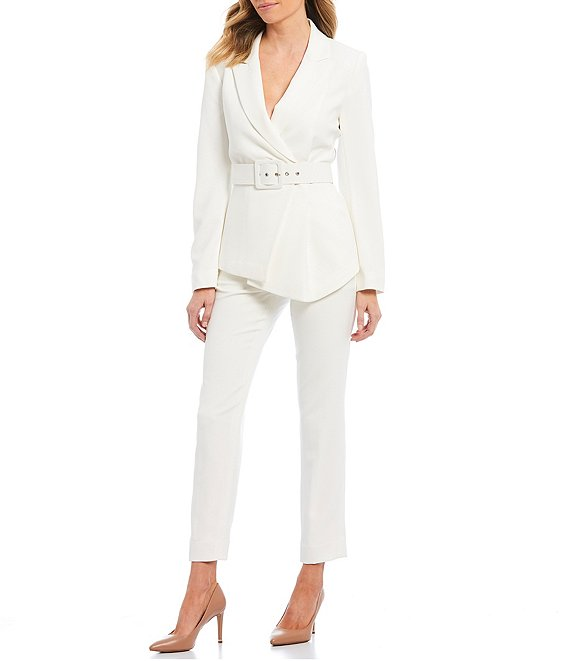 Tahari ASL Pebble Crepe Asymmetric Pleat Hem Belted Jacket 2-Piece Pant Suit