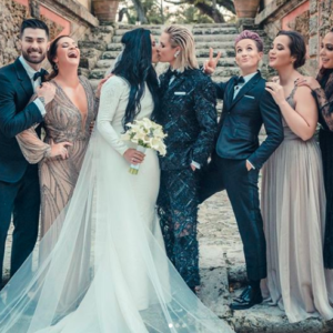 Get the Look: 8 Wedding Pant Suits Inspired by Soccer Stars Ashlyn Harris and Ali Krieger's Nuptials