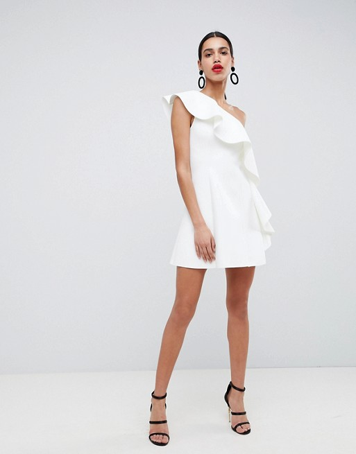 One-Shoulder Ruffle A-Line Mini Dress