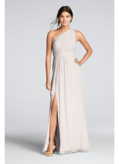 Long One-Shoulder Crinkle Chiffon Dress