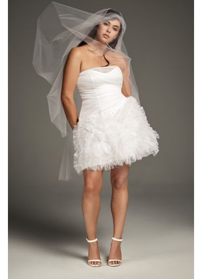 Draped Tulle Mini With 3D Floral Skirt