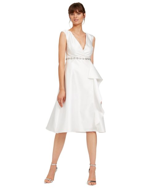 Adrianna Papell Tea Length Mikado Dress