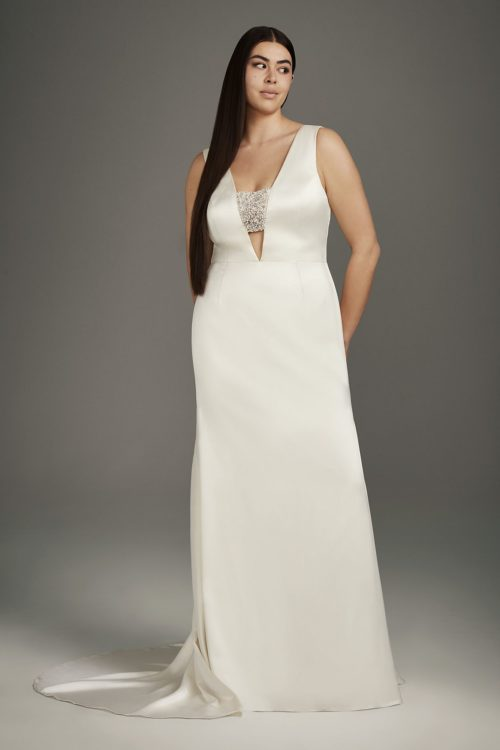 Crepe Back Satin-Encrusted Bandeau Gown