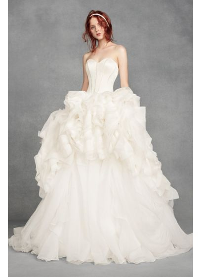 White by Vera Wang Tiered Organza Dress
