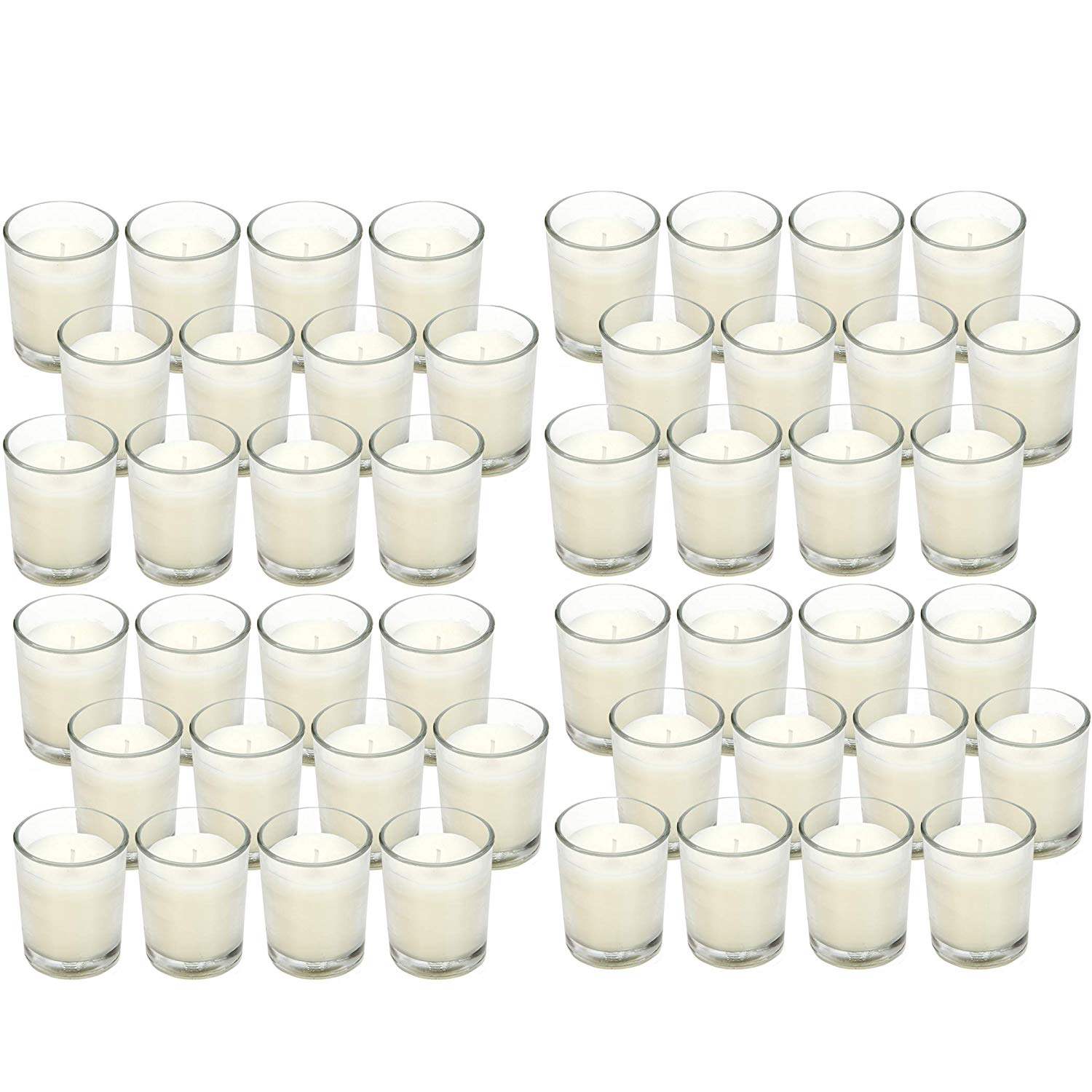 White Unscented Clear Glass Filled Votives