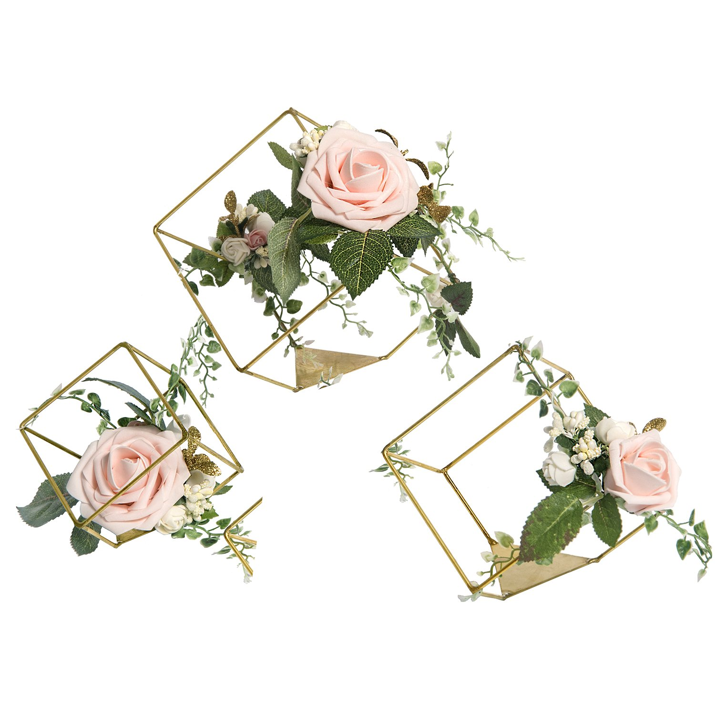 Geometric Blush Rose Ornaments