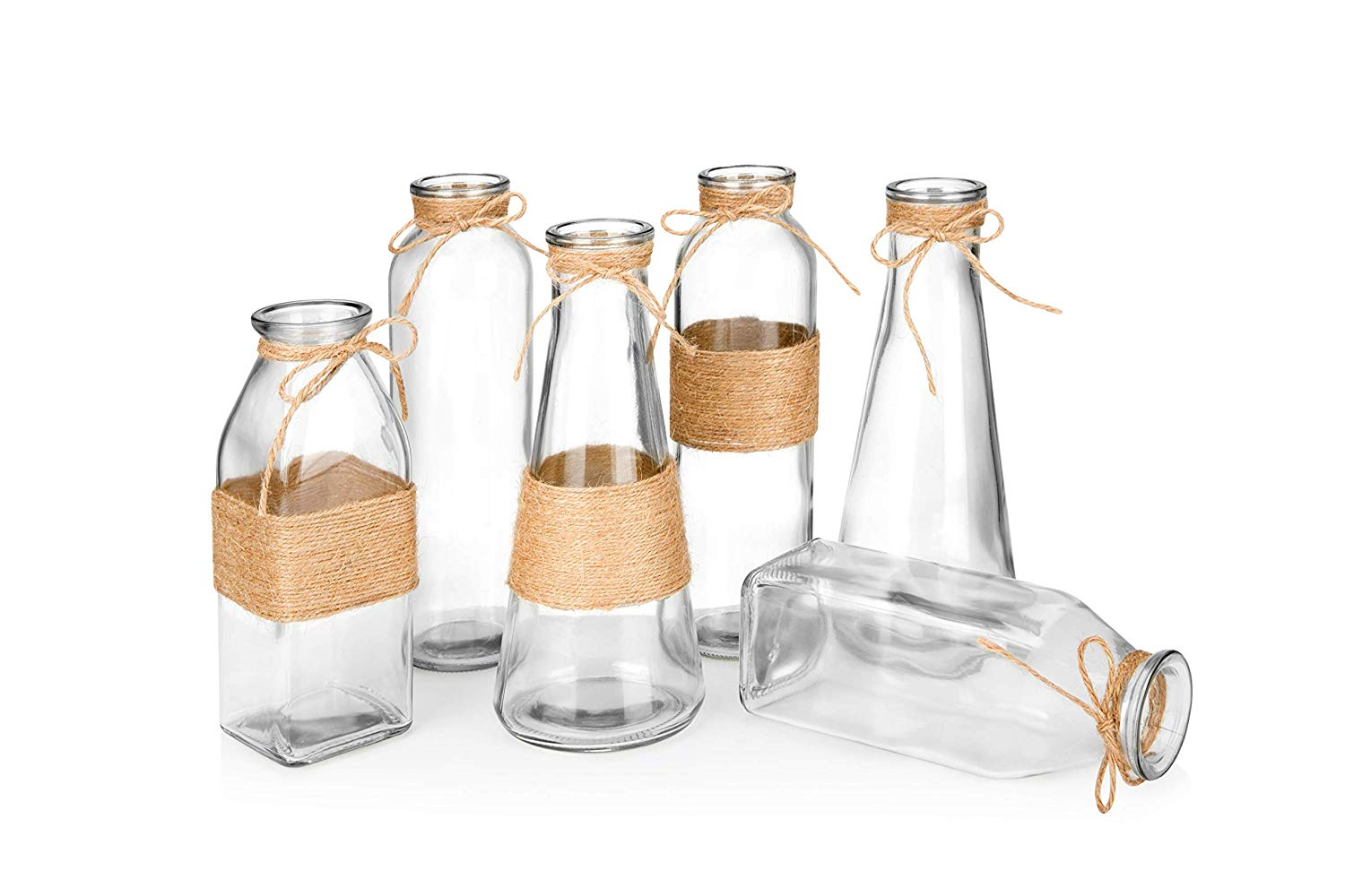 Different-Shaped Glass Containers with Rope