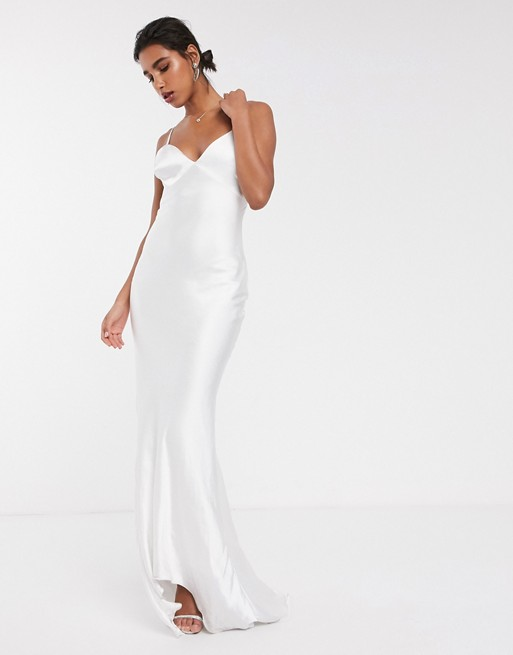Satin Cami Wedding Dress With Train