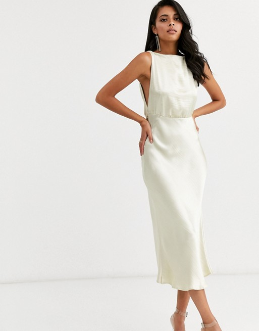 Cowl Back Bias-Cut Midi Dress