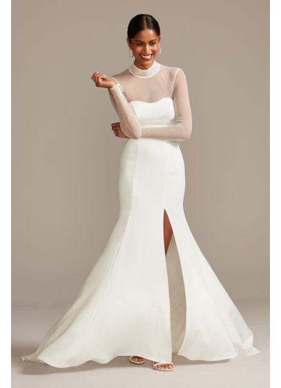 Illusion Long Sleeve High Neck Crepe Wedding Gown