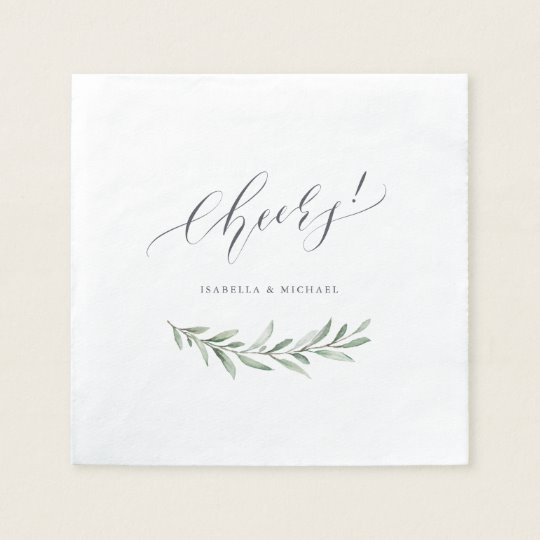 Cheers Rustic Greenery Cocktail Napkins