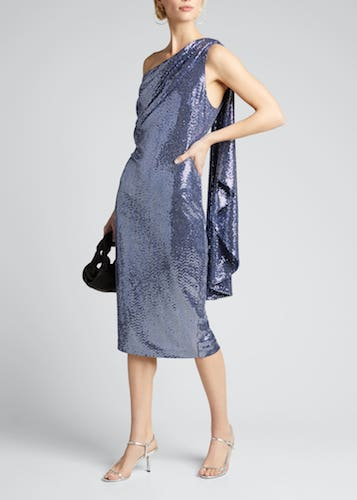 Badgley Mischka Collection Sequin One-Shoulder Cocktail Dress