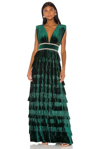 Bronx and Banco Deep V-Neck Sleeveless Tiered Velvet Gown with Waist Trim