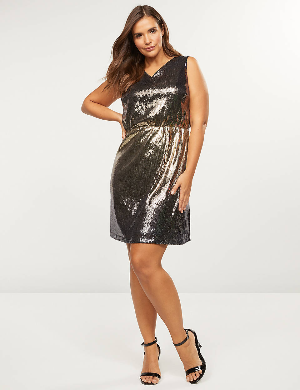 Ombre Sequin Fit and Flare Dress