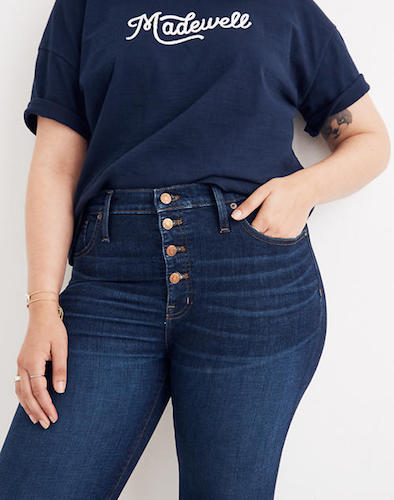 MADEWELL Button Front High Waist Skinny Jeans