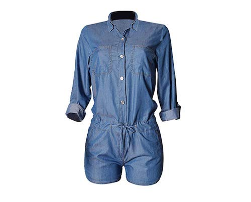 Montrimori Montmo Women's Sexy Half Sleeve Tencel Denim Shorts Playsuit