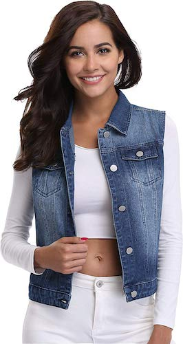 MISS MOLY Women's Denim Distressed Classic Vest