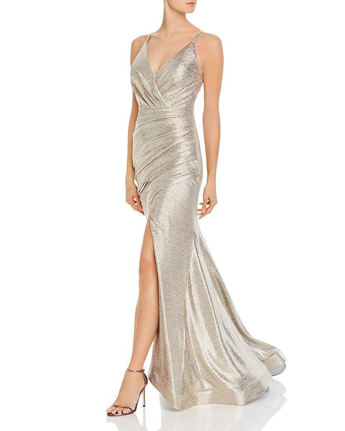 Aqua Metallic Knit Gown