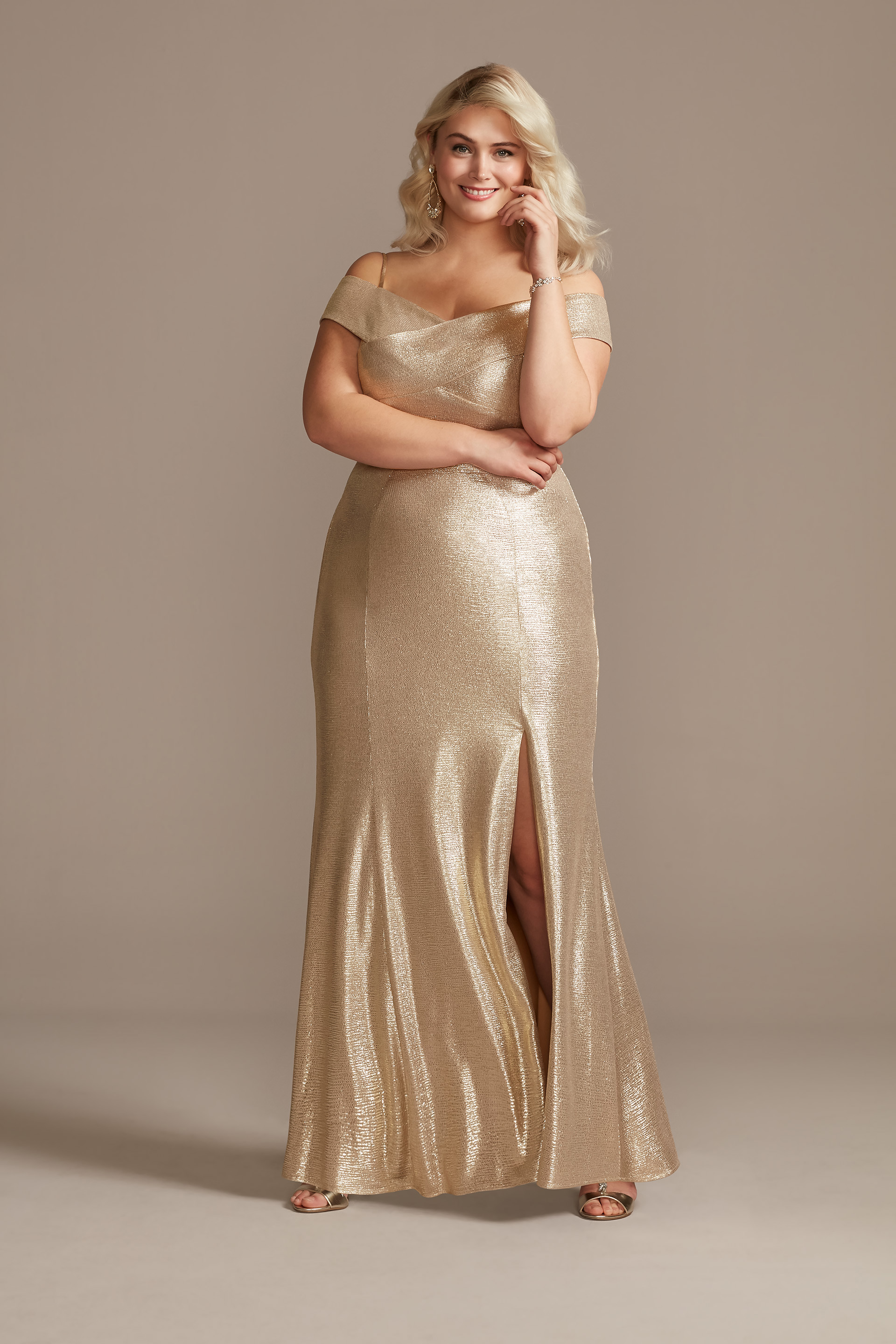 Metallic Off-the-Shoulder Seamed Plus Size Gown