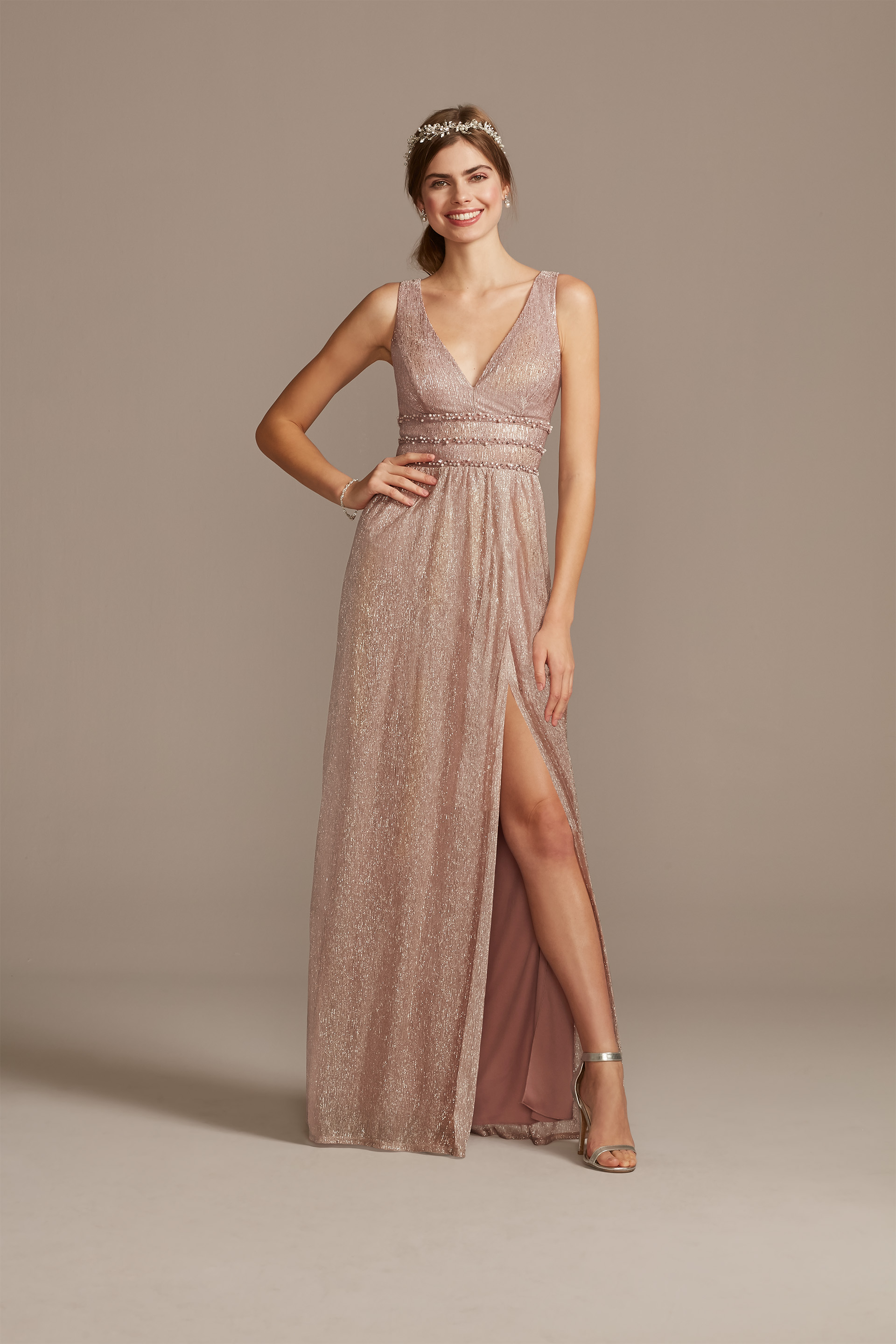 Metallic A-Line Gown With Beaded Waist