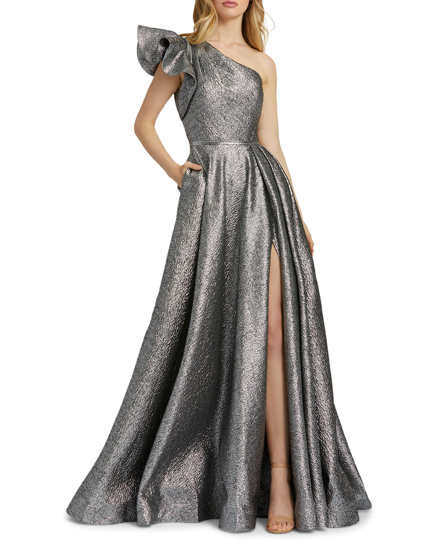 Mac Duggal Asymmetric Ruffle Metallic Ball Gown