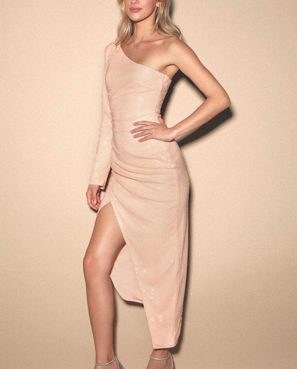 Deja Vu Pale Pink Sequin One-Shoulder Dress