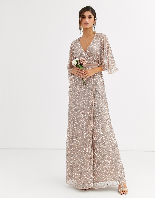 Maya Delicate Sequin Wrap Maxi Dress