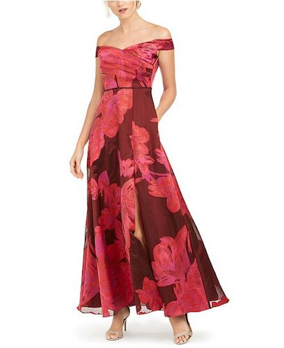 Adrianna Papell Off-The-Shoulder Floral-Print Gown