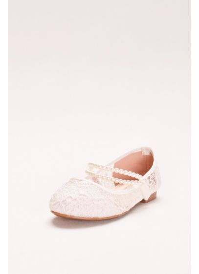 Lace Mary Janes With Pearl Strap