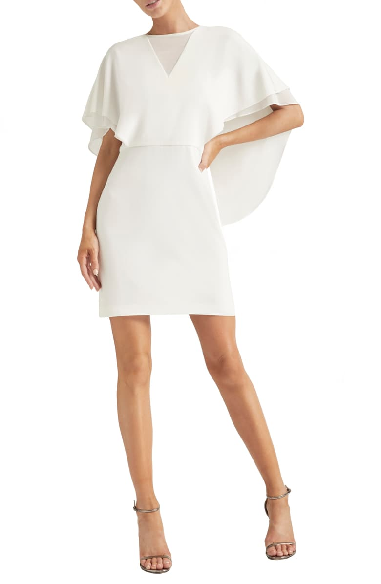 Halston Heritage Cape Sleeve Cocktail Dress