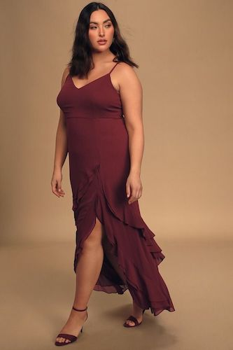 Esther Burgundy Ruffled Sleeveless Maxi Dress