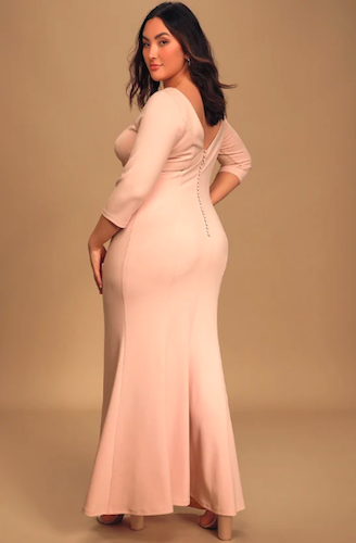 Glamour Galore Blush Pink Button Back Maxi Dress