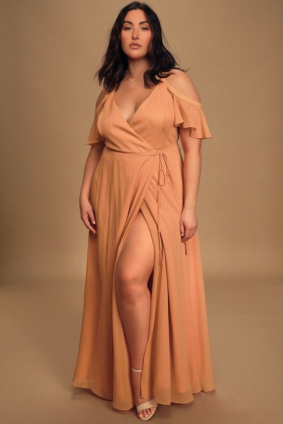 Easy Listening Sandstone Cold-Shoulder Wrap Maxi Dress