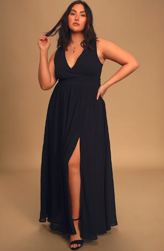 Thoughts of Hue Navy Blue Surplice Maxi Dress