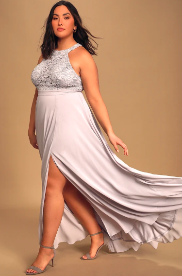 Picture Perfect Light Grey Lace Maxi Dress