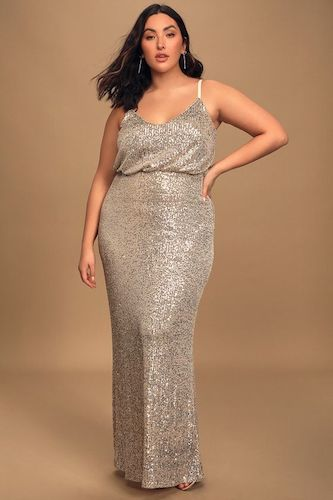Broadway Silver Sequin Sleeveless Maxi Dress