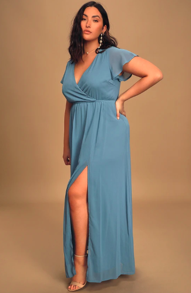 Lost in the Moment Slate Blue Maxi Dress