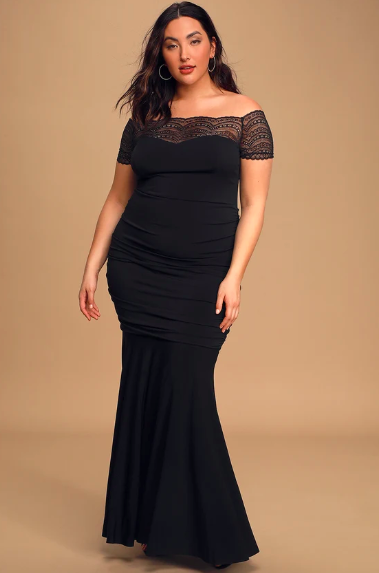 Any Given Moment Black Lace Ruched Off-the-Shoulder Maxi Dress