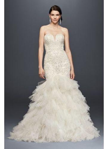 Galina Signature Beaded Mermaid Wedding Dress with Tulle Skirt