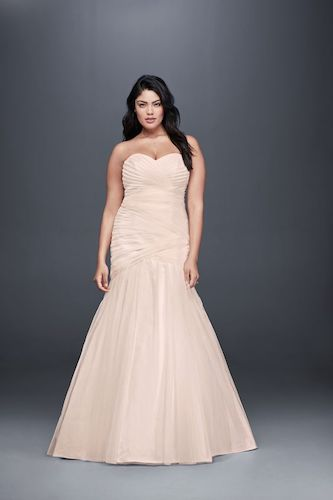 David's Bridal Collection Strapless Mermaid Tulle Plus Size Wedding Dress