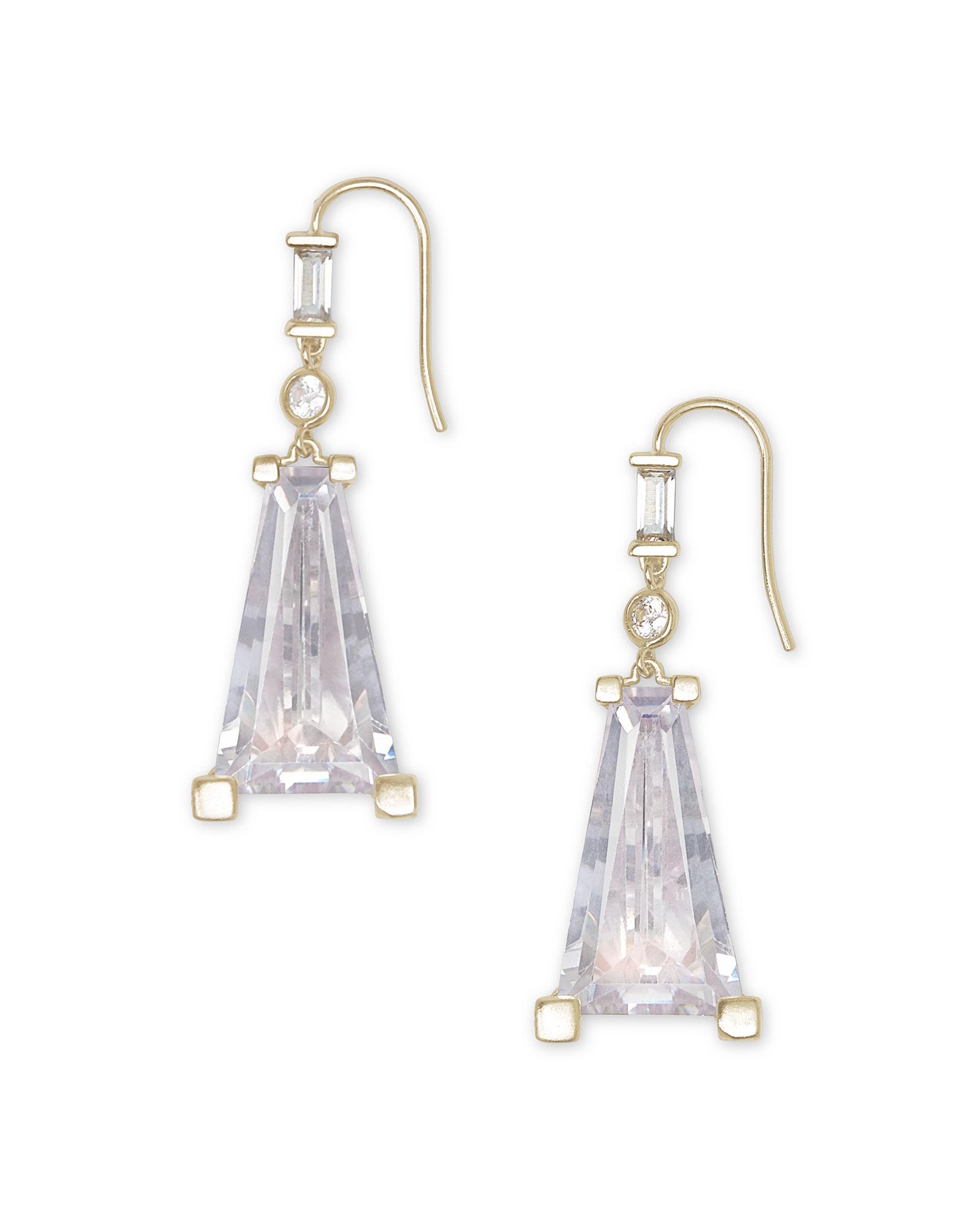 Everdeen Gold Drop Earrings in Lustre Glass