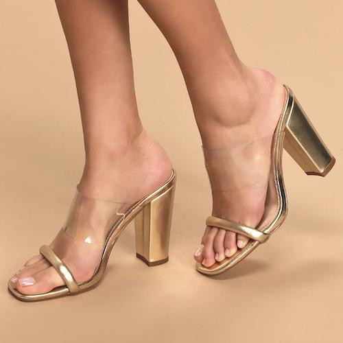 Arianna Gold Metallic High Heel Sandals