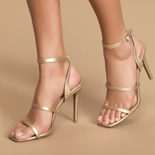 Leticiya Gold Ankle-Strap High Heel Sandals