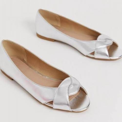 Asos Design Wide Fit Leadership Peeptoe Ballet Flats in Silver