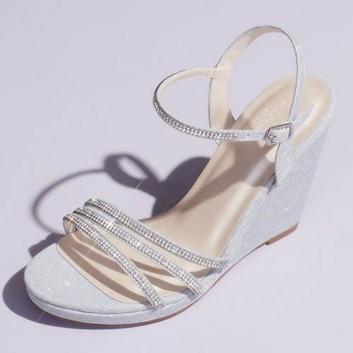 Glitter Metallic Wedges with Embellished Straps
