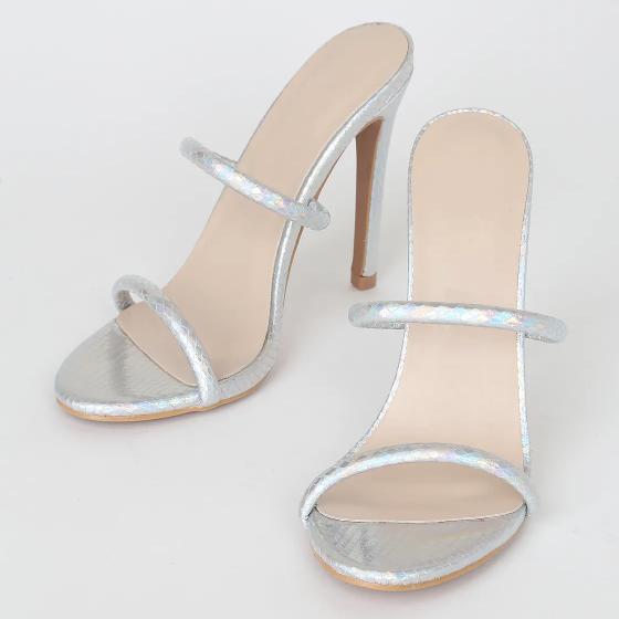 Chauncy Silver Hologram Snake Heels