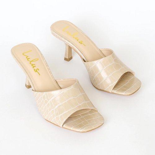 Viyan Nude Crocodile High Heel Sandals
