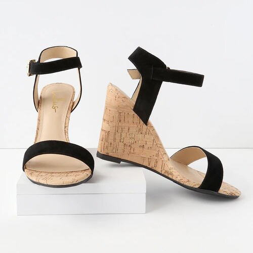 Whitney Black Suede Wedge Sandals